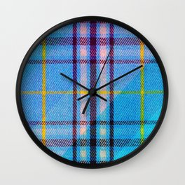 Gingham Blue And Yellow Plaid Wall Clock