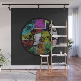 Pastel Porthole - Abstract, geometric, textured, pastel coloured artwork Wall Mural
