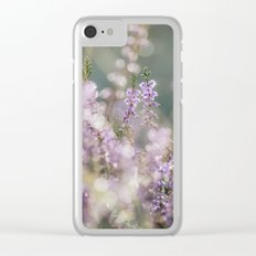 Detail of wild heather growing on a heath with early morning light. Norfolk, UK. Clear iPhone Case