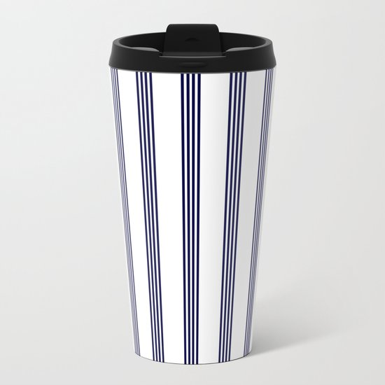 Blue- White- Stripe - Stripes - Marine - Maritime - Navy - Sea - Beach - Summer - Sailor Metal Travel Mug