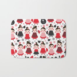 pattern spanish Woman flamenco dancer. Kawaii cute face with pink cheeks and winking eyes. Bath Mat
