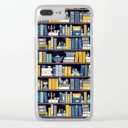 Book Case Pattern - Blue Yellow Clear iPhone Case