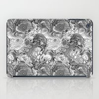 malachite iPad Cases featuring Malachite black and white by ravynka