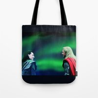 northern lights Tote Bags featuring Northern Lights by LindaMarieAnson