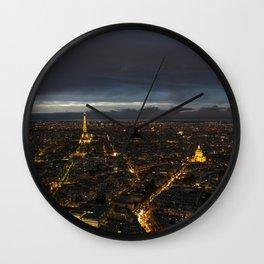 Paris Lights Night View Wall Clock