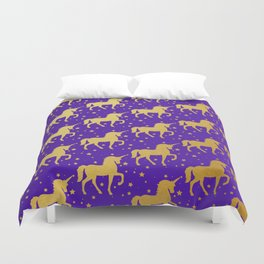 Purple and Gold Unicorn and Stars Pattern Duvet Cover