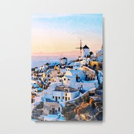 Morning at Santorini Watercolor Art Metal Print