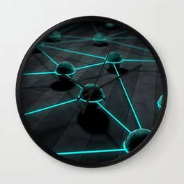 3D Teal Balls Wall Clock