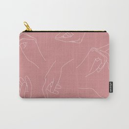Pink hands line drawing - Pippa Carry-All Pouch