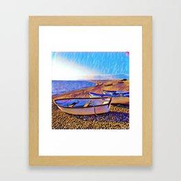 Chesil Beach Boats Framed Art Print