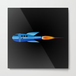 Cartoon Rocket Metal Print