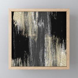 Abstract modern black gray gold glitter brushstrokes Framed Mini Art Print