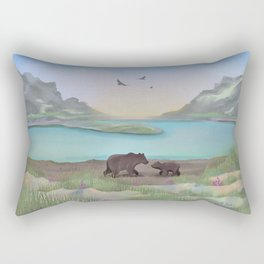 Mom and Cub Hanging out at the Lakefront Rectangular Pillow