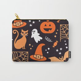 Halloween party illustrations orange, black Carry-All Pouch