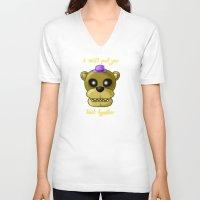 fnaf V-neck T-shirts featuring FNAF Golden Fredbear by Bloo McDoodle