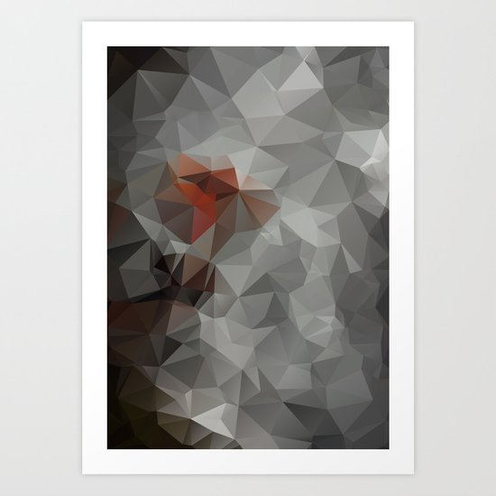Abstract background of triangles polygon design bright colors Art Print