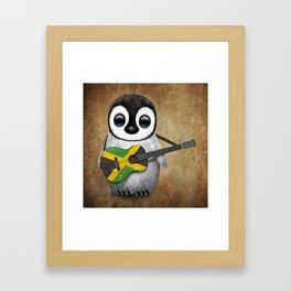 Baby Penguin Playing Jamaican Flag Guitar Framed Art Print