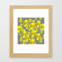 OODLES OF YELLOW IRIS GREY GARDEN ART Framed Art Print