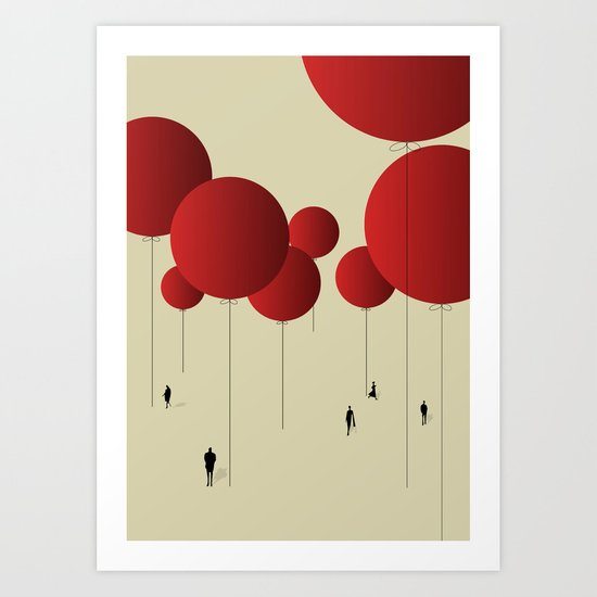 City of Red Balloons Art Print