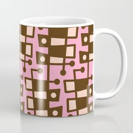 Mid Century Modern Abstract 213 Pink and Brown Coffee Mug