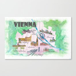 Vienna Favorite Travel Poster Map with touristic Top Ten Highlights Canvas Print