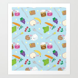 Kawaii Happy Snacks Toss Art Print