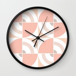 Light Coral Circles pattern Large Scale Wall Clock
