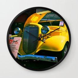 Classic yellow roadster Wall Clock