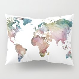 Watercolor World Map Pillow Sham