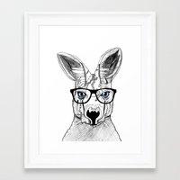 kangaroo Framed Art Prints featuring kangaroo by  Steve Wade ( Swade)