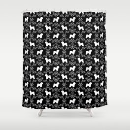 Bichon Frise dog florals silhouette black and white minimal pet art dog breeds silhouettes Shower Curtain