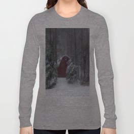 Red Barn in a Snow Storm Long Sleeve T-shirt