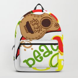 """A Perfect Gift Music Tee For Musicians """"Peace Love Uku"""" T-shirt Design Music Strum Musician Ukulele Backpack"""