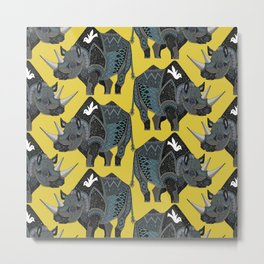 rhinoceros yellow Metal Print