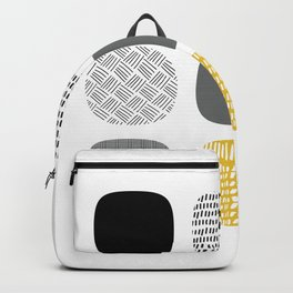 Abstract in mustard and grey Backpack