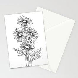 Black and white daisies Stationery Cards