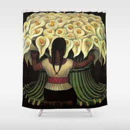 1941 Classical Masterpiece Calla lily 'Flower Seller' by Diego Rivera Shower Curtain