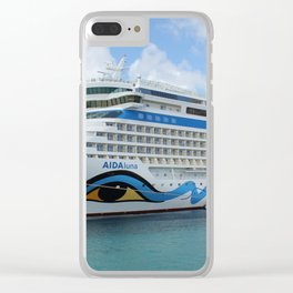 AIDAluna cruise ship anchered off Grenada island Clear iPhone Case