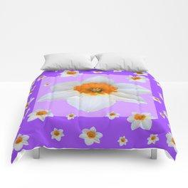 ULTRA VIOLET  WHITE DAFFODILS GARDEN ART Comforters