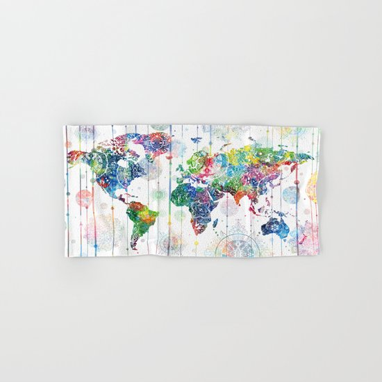 world map mandala white Hand & Bath Towel
