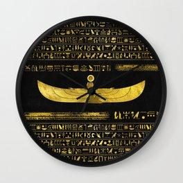 Golden Egyptian God Ornament on black leather Wall Clock