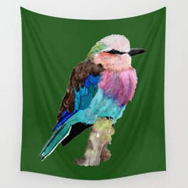Lilac Breasted Roller Bird Wall Tapestry