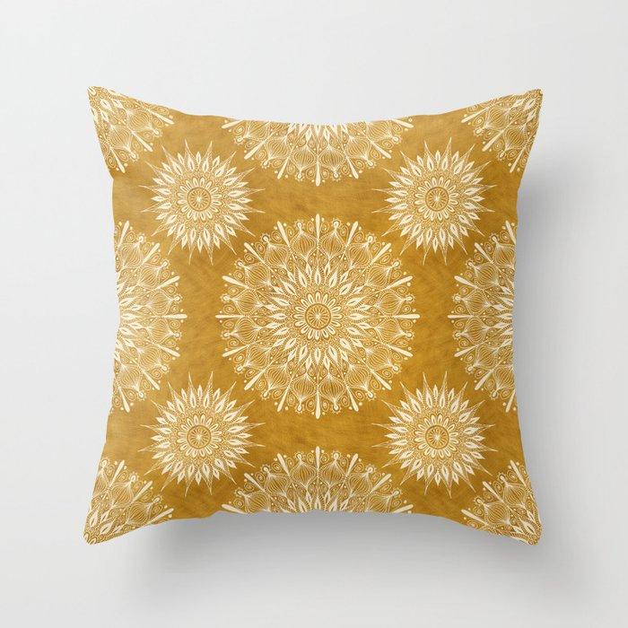 Vintage Mandala on Gold Throw Pillow
