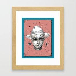 Phrenology head with Panama hat. Framed Art Print
