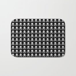 Skull and X-Bones in Black and White (Smaller) Bath Mat
