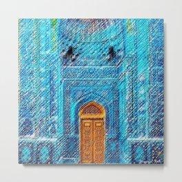 Blue Tile Mosaic Mosque Portrait - Sultan Ahmed Mosque by Jéanpaul Ferro Metal Print
