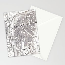 Vintage Map of Prague (1858) Stationery Cards