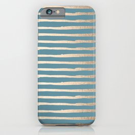 Abstract Stripes Gold Tropical Ocean Blue iPhone Case