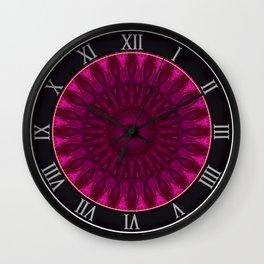 Pink and red ornamented mandala Wall Clock