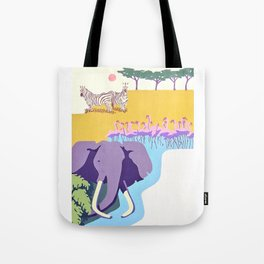 Poster with graphic african animals in strong colors Tote Bag